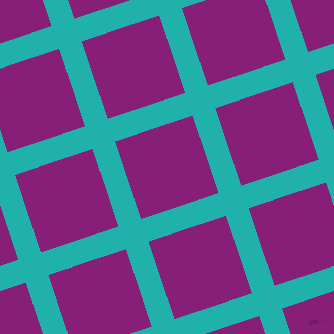 18/108 degree angle diagonal checkered chequered lines, 47 pixel lines width, 161 pixel square size, Light Sea Green and Dark Purple plaid checkered seamless tileable