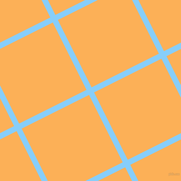 27/117 degree angle diagonal checkered chequered lines, 18 pixel lines width, 241 pixel square size, Light Sky Blue and Texas Rose plaid checkered seamless tileable
