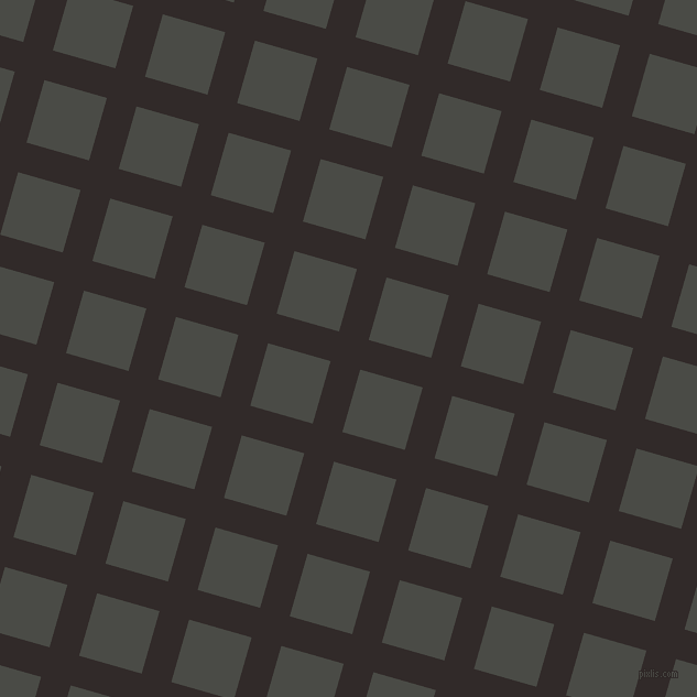 74/164 degree angle diagonal checkered chequered lines, 28 pixel lines width, 59 pixel square size, Livid Brown and Gravel plaid checkered seamless tileable