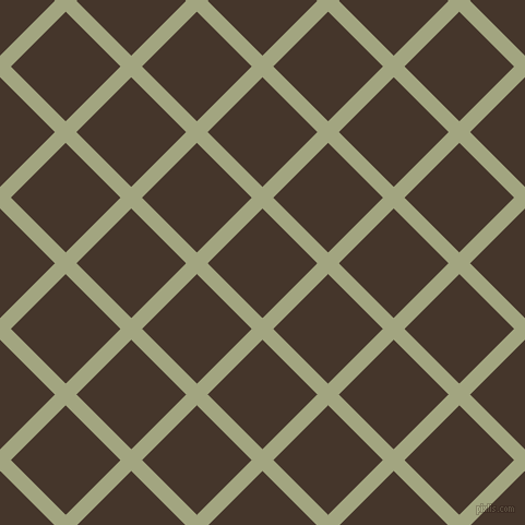 45/135 degree angle diagonal checkered chequered lines, 14 pixel line width, 71 pixel square size, Locust and Dark Rum plaid checkered seamless tileable