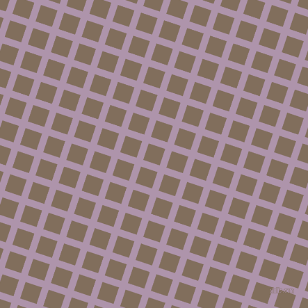 72/162 degree angle diagonal checkered chequered lines, 10 pixel lines width, 25 pixel square size, London Hue and Donkey Brown plaid checkered seamless tileable