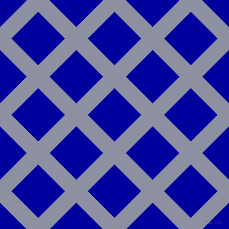 45/135 degree angle diagonal checkered chequered lines, 32 pixel line width, 75 pixel square size, Manatee and New Midnight Blue plaid checkered seamless tileable