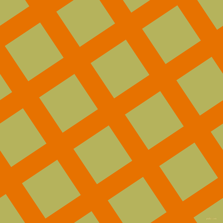 34/124 degree angle diagonal checkered chequered lines, 66 pixel lines width, 144 pixel square size, Mango Tango and Olive Green plaid checkered seamless tileable