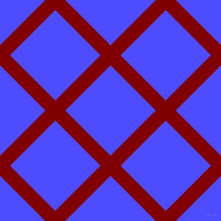 45/135 degree angle diagonal checkered chequered lines, 48 pixel line width, 216 pixel square size, Maroon and Neon Blue plaid checkered seamless tileable