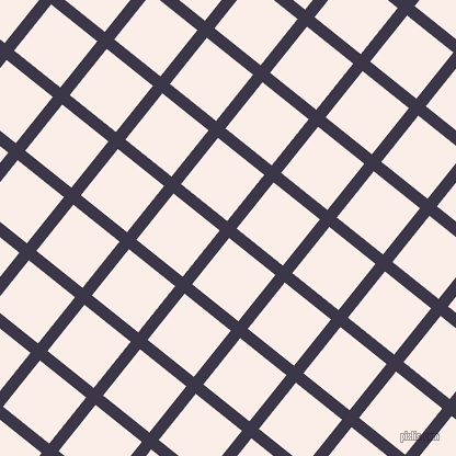 51/141 degree angle diagonal checkered chequered lines, 11 pixel line width, 54 pixel square size, Martinique and Rose White plaid checkered seamless tileable