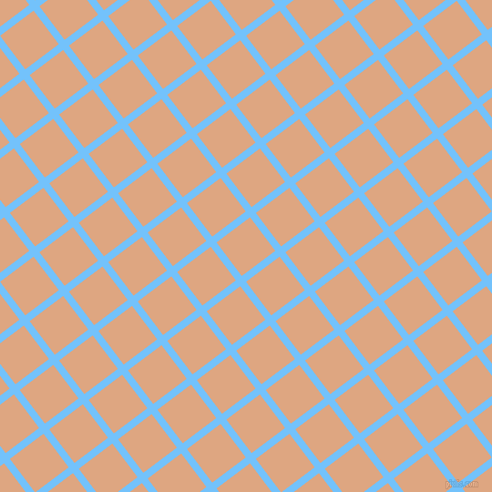 37/127 degree angle diagonal checkered chequered lines, 8 pixel line width, 46 pixel square size, Maya Blue and Tumbleweed plaid checkered seamless tileable