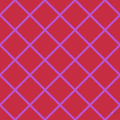 45/135 degree angle diagonal checkered chequered lines, 7 pixel lines width, 66 pixel square size, Medium Orchid and Brick Red plaid checkered seamless tileable