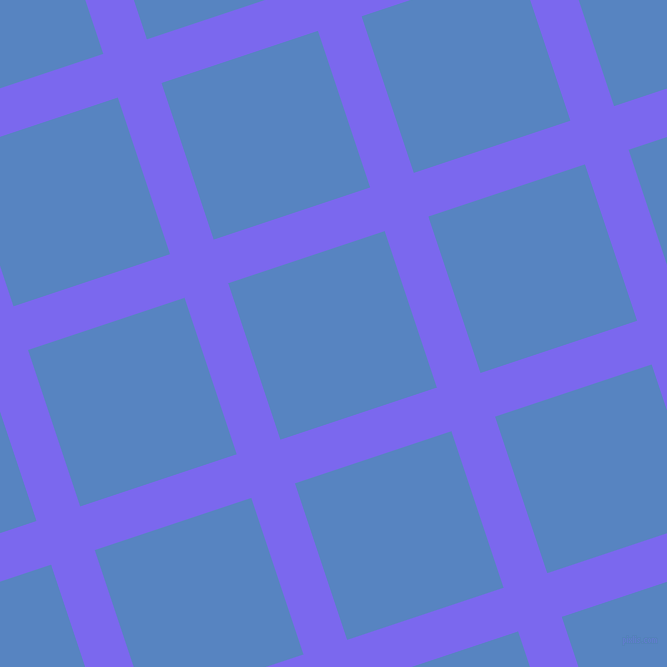 18/108 degree angle diagonal checkered chequered lines, 46 pixel line width, 165 pixel square size, Medium Slate Blue and Havelock Blue plaid checkered seamless tileable