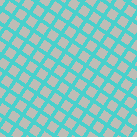 56/146 degree angle diagonal checkered chequered lines, 15 pixel line width, 37 pixel square size, Medium Turquoise and Silver Sand plaid checkered seamless tileable
