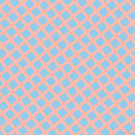 39/129 degree angle diagonal checkered chequered lines, 11 pixel line width, 25 pixel square size, Melon and Cornflower plaid checkered seamless tileable