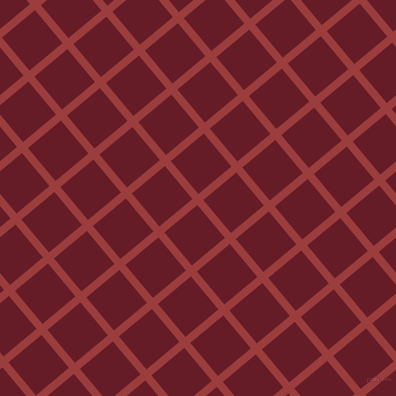 40/130 degree angle diagonal checkered chequered lines, 11 pixel lines width, 61 pixel square size, Mexican Red and Pohutukawa plaid checkered seamless tileable