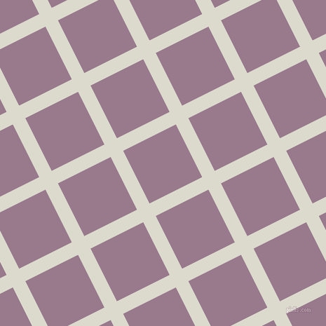 27/117 degree angle diagonal checkered chequered lines, 20 pixel line width, 84 pixel square size, Milk White and Mountbatten Pink plaid checkered seamless tileable