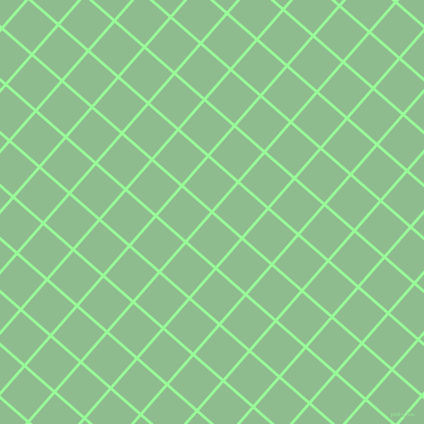 49/139 degree angle diagonal checkered chequered lines, 4 pixel line width, 54 pixel square size, Mint Green and Dark Sea Green plaid checkered seamless tileable