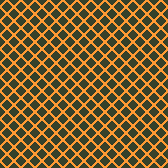 45/135 degree angle diagonal checkered chequered lines, 8 pixel line width, 26 pixel square size, Neon Carrot and Seaweed plaid checkered seamless tileable