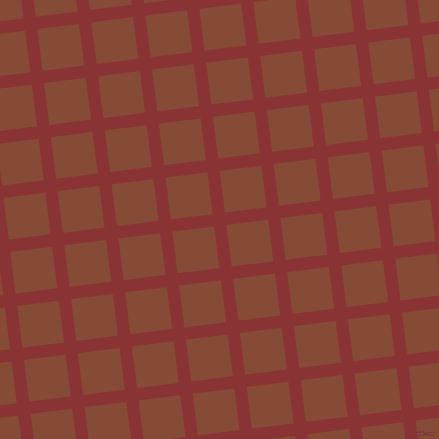 7/97 degree angle diagonal checkered chequered lines, 25 pixel line width, 84 pixel square size, Old Brick and Paarl plaid checkered seamless tileable