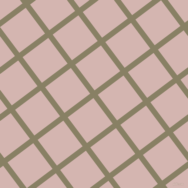 37/127 degree angle diagonal checkered chequered lines, 18 pixel line width, 106 pixel square size, Olive Haze and Oyster Pink plaid checkered seamless tileable