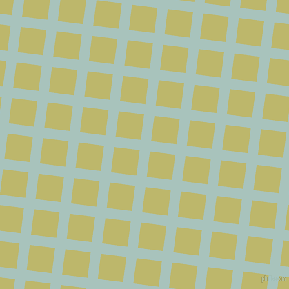 83/173 degree angle diagonal checkered chequered lines, 15 pixel line width, 37 pixel square size, Opal and Dark Khaki plaid checkered seamless tileable