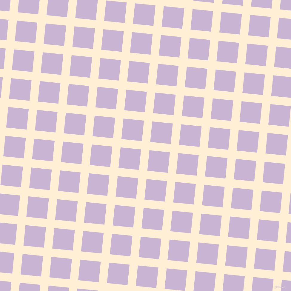 84/174 degree angle diagonal checkered chequered lines, 28 pixel lines width, 69 pixel square size, Papaya Whip and Prelude plaid checkered seamless tileable