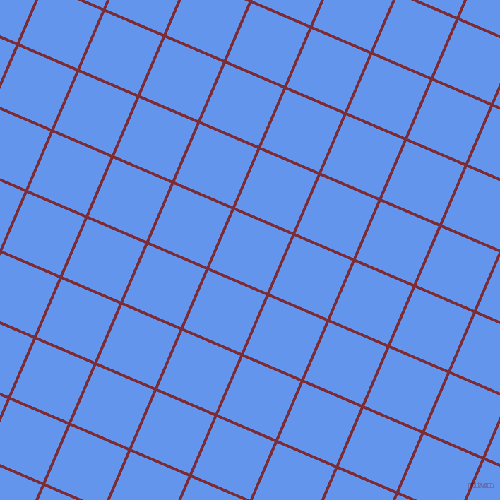 67/157 degree angle diagonal checkered chequered lines, 4 pixel line width, 89 pixel square size, Paprika and Cornflower Blue plaid checkered seamless tileable