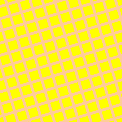 17/107 degree angle diagonal checkered chequered lines, 10 pixel line width, 31 pixel square size, Peach-Orange and Yellow plaid checkered seamless tileable