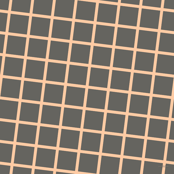 83/173 degree angle diagonal checkered chequered lines, 10 pixel line width, 64 pixel square size, Peach and Storm Dust plaid checkered seamless tileable