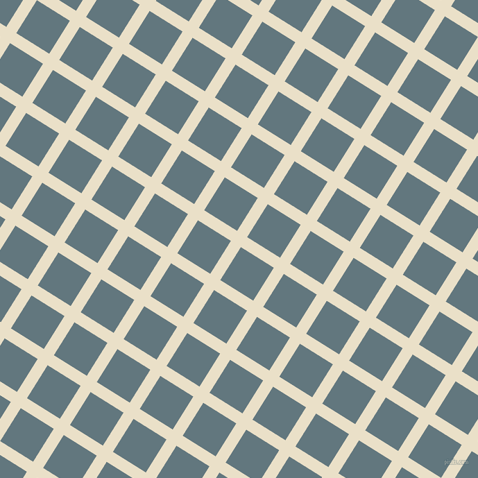 58/148 degree angle diagonal checkered chequered lines, 17 pixel line width, 56 pixel square size, Pearl Lusta and Blue Bayoux plaid checkered seamless tileable