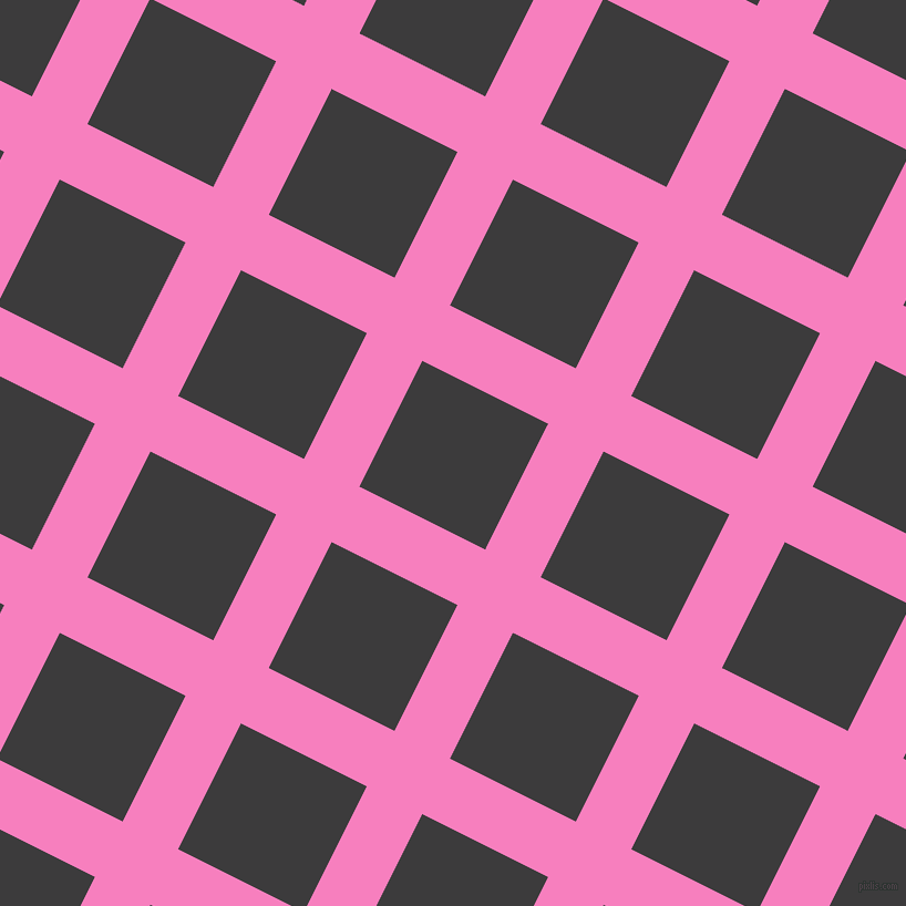 63/153 degree angle diagonal checkered chequered lines, 56 pixel line width, 127 pixel square size, Persian Pink and Fuscous Grey plaid checkered seamless tileable