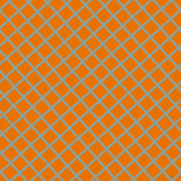 42/132 degree angle diagonal checkered chequered lines, 9 pixel lines width, 38 pixel square size, Pewter and Mango Tango plaid checkered seamless tileable