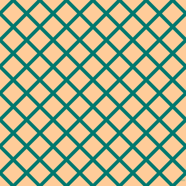 45/135 degree angle diagonal checkered chequered lines, 15 pixel lines width, 65 pixel square size, Pine Green and Peach-Orange plaid checkered seamless tileable