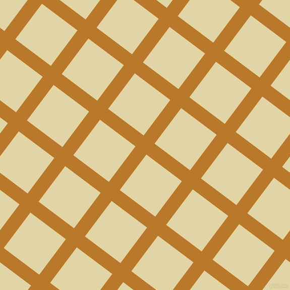 53/143 degree angle diagonal checkered chequered lines, 27 pixel line width, 88 pixel square size, Pirate Gold and Sapling plaid checkered seamless tileable