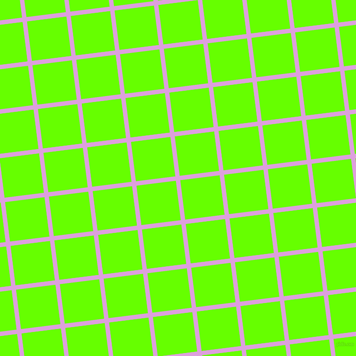 7/97 degree angle diagonal checkered chequered lines, 9 pixel lines width, 81 pixel square size, Plum and Bright Green plaid checkered seamless tileable