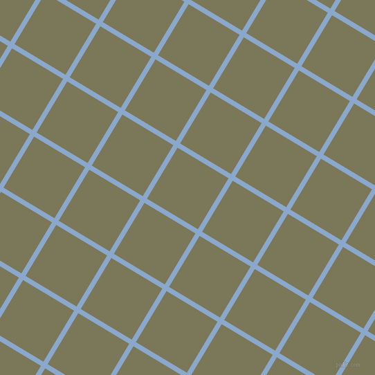 59/149 degree angle diagonal checkered chequered lines, 7 pixel lines width, 86 pixel square size, Polo Blue and Kokoda plaid checkered seamless tileable