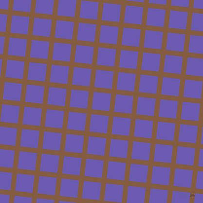 84/174 degree angle diagonal checkered chequered lines, 10 pixel lines width, 36 pixel square size, Potters Clay and Blue Marguerite plaid checkered seamless tileable