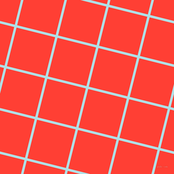 76/166 degree angle diagonal checkered chequered lines, 8 pixel line width, 131 pixel square size, Powder Blue and Red Orange plaid checkered seamless tileable