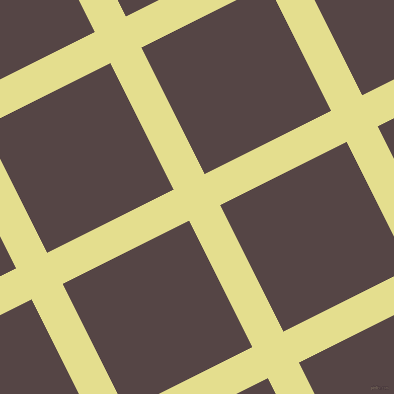 27/117 degree angle diagonal checkered chequered lines, 69 pixel lines width, 281 pixel square size, Primrose and Woody Brown plaid checkered seamless tileable