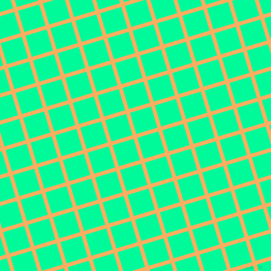 17/107 degree angle diagonal checkered chequered lines, 8 pixel lines width, 45 pixel square size, Rajah and Medium Spring Green plaid checkered seamless tileable