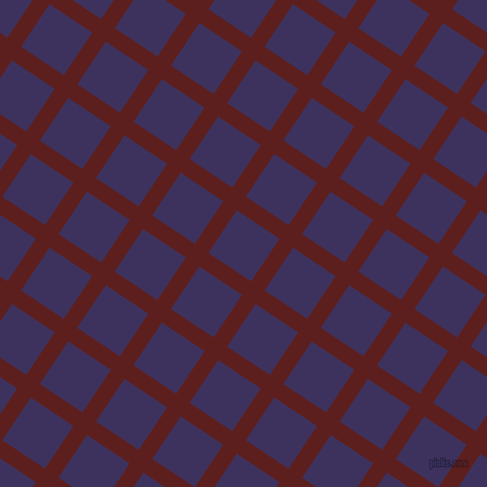 56/146 degree angle diagonal checkered chequered lines, 15 pixel lines width, 47 pixel square size, Red Oxide and Jacarta plaid checkered seamless tileable