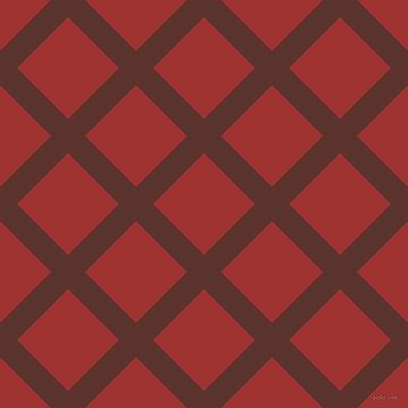 45/135 degree angle diagonal checkered chequered lines, 34 pixel line width, 102 pixel square size, Redwood and Milano Red plaid checkered seamless tileable