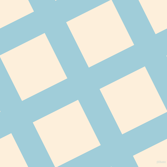 27/117 degree angle diagonal checkered chequered lines, 95 pixel lines width, 201 pixel square size, Regent St Blue and Forget Me Not plaid checkered seamless tileable