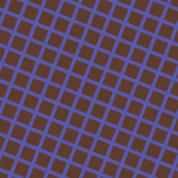68/158 degree angle diagonal checkered chequered lines, 12 pixel line width, 43 pixel square size, Rich Blue and Cioccolato plaid checkered seamless tileable