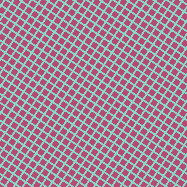56/146 degree angle diagonal checkered chequered lines, 6 pixel lines width, 19 pixel square size, Riptide and Royal Heath plaid checkered seamless tileable