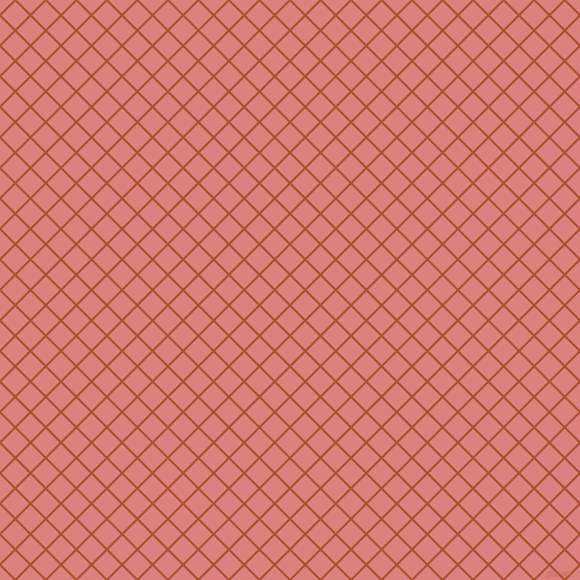45/135 degree angle diagonal checkered chequered lines, 3 pixel line width, 28 pixel square size, Rose Of Sharon and Sea Pink plaid checkered seamless tileable