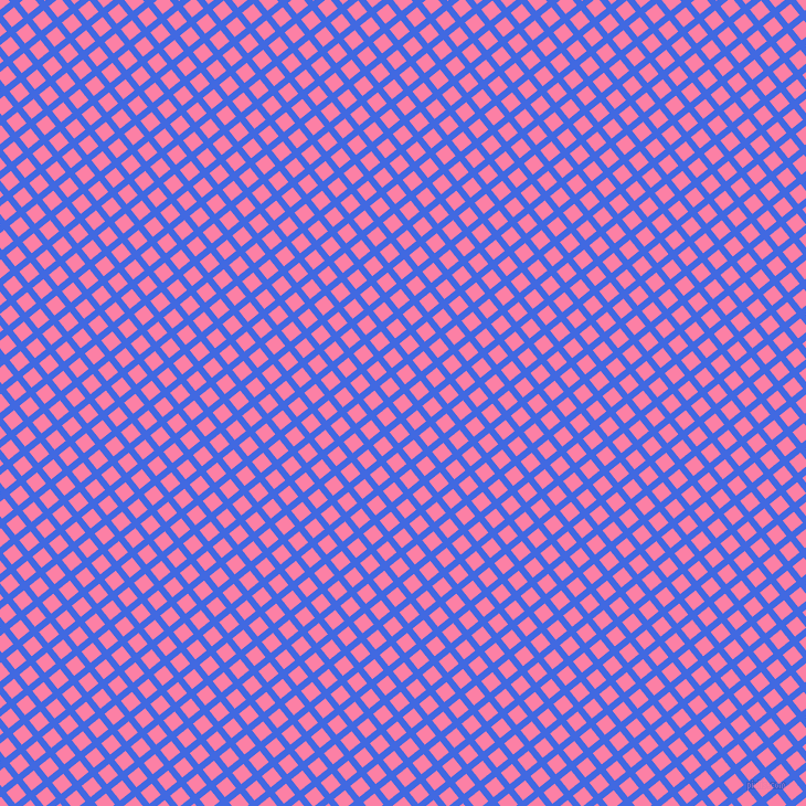 39/129 degree angle diagonal checkered chequered lines, 6 pixel lines width, 13 pixel square size, Royal Blue and Tickle Me Pink plaid checkered seamless tileable