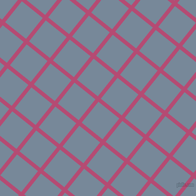 51/141 degree angle diagonal checkered chequered lines, 8 pixel line width, 55 pixel square size, Royal Heath and Light Slate Grey plaid checkered seamless tileable