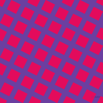 63/153 degree angle diagonal checkered chequered lines, 20 pixel line width, 42 pixel square size, Royal Purple and Razzmatazz plaid checkered seamless tileable