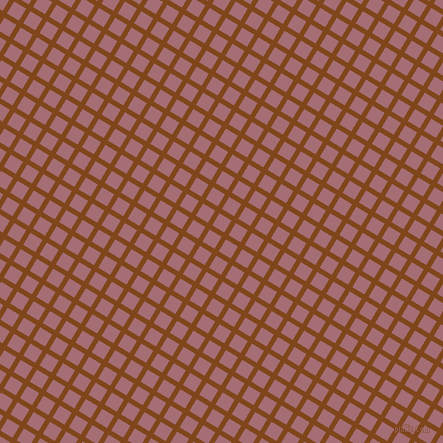 59/149 degree angle diagonal checkered chequered lines, 5 pixel line width, 14 pixel square size, Russet and Turkish Rose plaid checkered seamless tileable