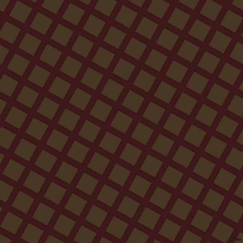 61/151 degree angle diagonal checkered chequered lines, 21 pixel line width, 55 pixel square size, Rustic Red and Clinker plaid checkered seamless tileable
