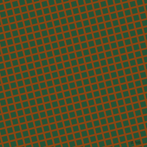 14/104 degree angle diagonal checkered chequered lines, 6 pixel line width, 17 pixel square size, Saddle Brown and Kaitoke Green plaid checkered seamless tileable