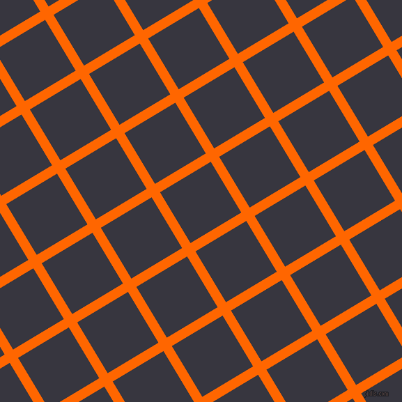 31/121 degree angle diagonal checkered chequered lines, 14 pixel lines width, 85 pixel square size, Safety Orange and Revolver plaid checkered seamless tileable