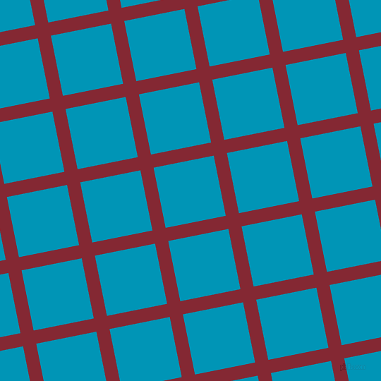11/101 degree angle diagonal checkered chequered lines, 19 pixel line width, 87 pixel square size, Shiraz and Bondi Blue plaid checkered seamless tileable